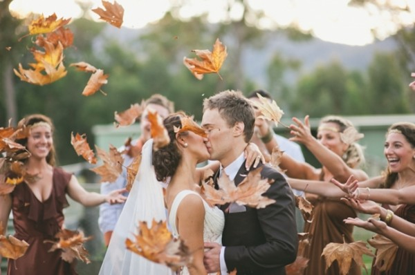 leaves as a wedding send off