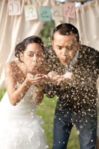 glitter wedding photo