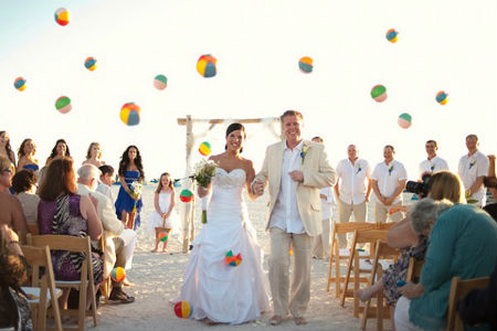 beach ball wedding exit idea