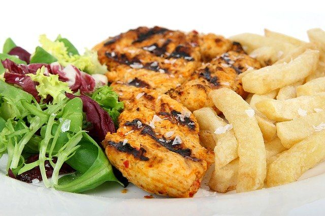 Chicken With Fries And Salad