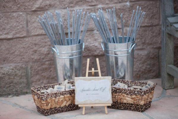 wedding sparkler display table