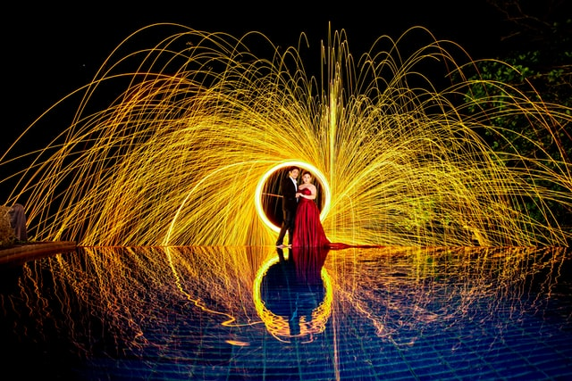 creative photo of sparks at wedding
